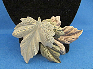 Brass, Copper, Pewter Leaf Brooch
