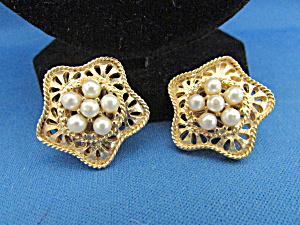 Kramer Clip On Gold And Pearl Earrings