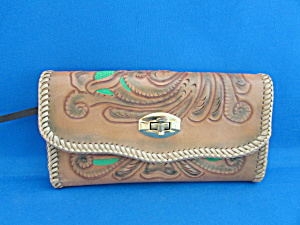 Hand Tooled Wallet And Checkbook Holder