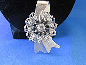 Silver And Black Rhinestone Ribbon Brooch