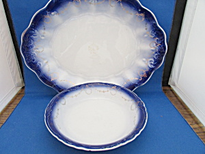 Flow Blue Platter And Bowl From La Francaise