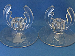 Clear Glass Winged Candle Holders