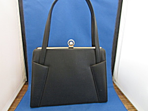 Berne' Black Leather Clasp Purse