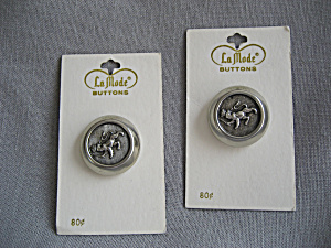 Two Large Metal Buttons From France