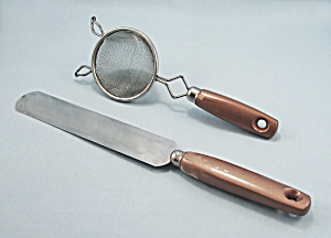 Gold Painted Handles, Small Strainer & Turner, Spreader