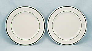 Two Shenango Bread & Butter Plates, Green Lines