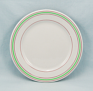 Carr China - Small Plate - Green & Red Lines