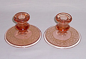Depression Glass Candle Pair