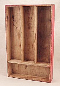 Wood Sectioned Box - Red Silverware Tray