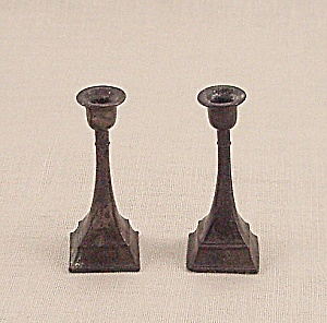 Doll House Furniture - Candle Pair - Metal Candlesticks - A