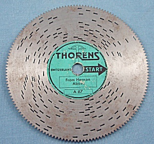 "Vintage Thorens 4 ½"" Music Box Disc, ""from Heaven Above"""