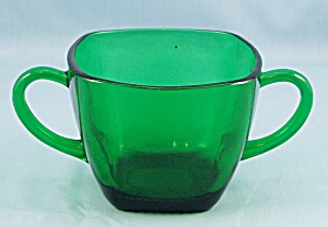 Charm - Forest Green Sugar Bowl - Anchor Hocking