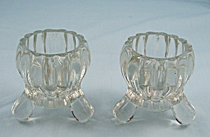 National - No. 2200 - Jeannette Glass Co. - Pair Footed Candle Holders