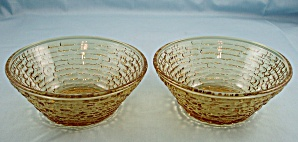Anchor Hocking - Two Soreno Fruit Bowls - 1960's , Gold