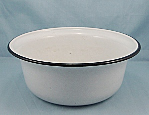 Graniteware Bowl - White, Black Trim