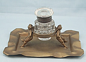 Brass And Glass Inkwell With Court Jesters