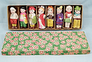 Set Of Eight Decorated Bisque Dolls, Original Box