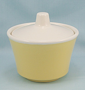 Yellow Sugar Bowl, White Lid