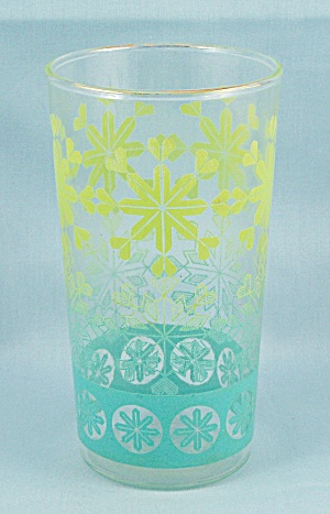 Anchor Hocking Tumbler, Turquoise & Yellow Snowflakes
