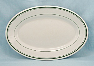 Sterling Oval Platter - Green Lines