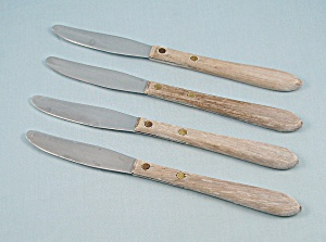 4 Everbrite Steak Knives, Wood Handles