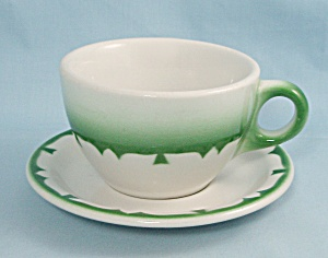 Jackson China Cup & Saucer, Green Airbrushed