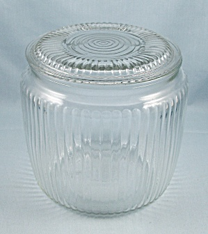 Ribbed- Crystal, Glass Biscuit, Cracker Jar By Anchor Hocking