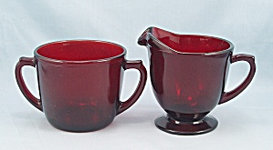 Royal Ruby - Cream & Sugar - Anchorglass
