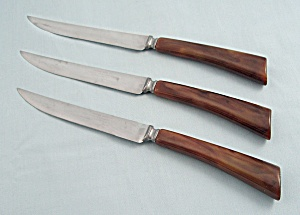 Three Steak Knives, Brown Bakelite Handles