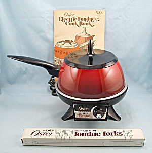 1973 Oster Electric Fondue Set,red, Complete With Book