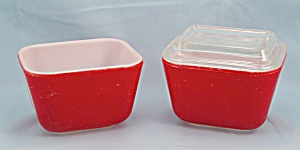 Vintage Pyrex Primary Red - 2 Refrigerator Dishes, One Lid