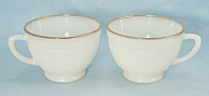 2 Sandwich Ivory Punch Cups, Gold Trim, Anchor Hocking