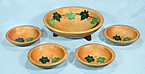 Munsing, Maple Salad Bowl Set, Footed, Hand Painted Ivy