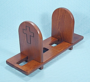 Sliding Wood Bookends - Carved Cross Design, Three Pieces, Vintage