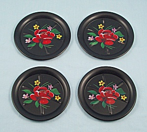 Four Metal Coasters, Black, Red Rose