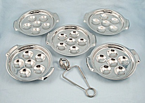 Five - Inox, Escargot Trays / Plates & One Tong
