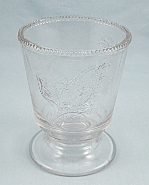 Clear Glass Spooner, Three Different Florals, Beaded Rim