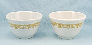 Two Sterling Bouillon/ Custard Cups, Gold Floral