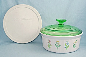 "Corningware - Decorated French White - ""my Garden"" - Green Glass & Storage Lids"