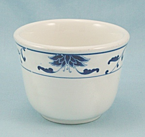 Cameo China Custard Cup, Blue Floral Border