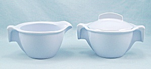 Meladur By Lapcor - Light Blue, Creamer And Sugar Bowl, Lid