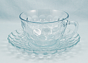 Light Blue - Bubble - Saucer, Anchor Hocking