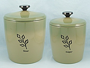 Two West Bend Canisters - Avocado, Green - Flour & Sugar