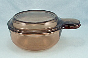 Amber Visions, Grab It Bowl V-150-b, & Lid, Vintage Corning