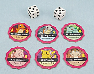 Pokémon Master Trainer Game, Milton Bradley, 1999, 6 Replacement Starter Chips And Dice