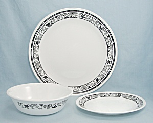 Corelle - Winding Gate - Dinner Plate, Cereal Bowl, B & B Plate - Three Piece Set