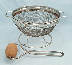 Androck, Patented 1932 Wire Mesh Strainer, Stand & Food Press