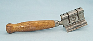A & J - Bare Wood Handle, Knife Sharpener, Kitchen Collectible