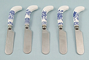 5 - Individual Cheese Spreaders - Tower Blue By Spode