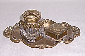 Art Nouveau Inkwell On Tray With Stamp Box